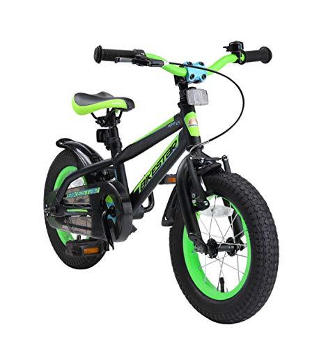 BIKESTAR Bicicletta Bambini 3-4 Anni da 12 Pollici Bici per Bambino et Bambina Mountainbike con Freno a retropedale et Freno a Mano Nero & Verde