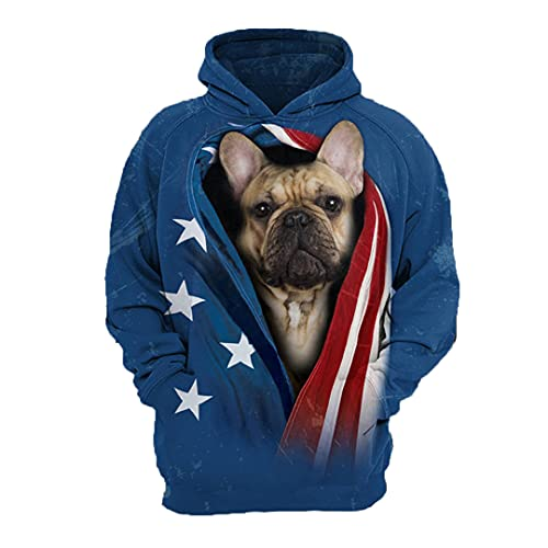 EGFIOKMJHT Men's Pullover Sweater Men Sweatshirt German Shepherd 3D Pets Printed Hoodies French Bulldog L