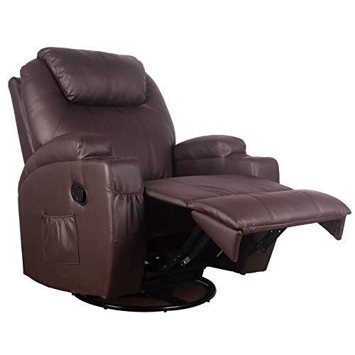 Polar Aurora Massage Recliner Chair Heated PU Leather Rocker Recliner Ergonomic Lounge Vibratory Massage function/360 Degree Swivel/Cup Holders/Heating/Remote Control for Living Room(Brown)