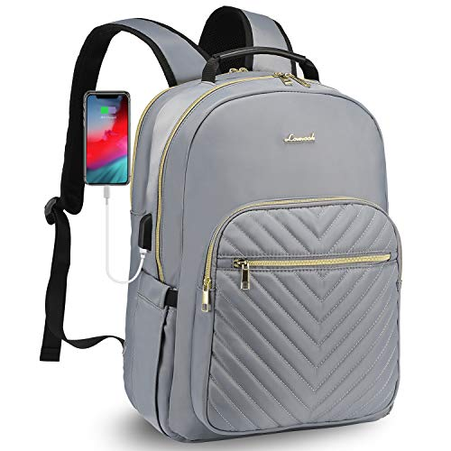 LOVEVOOK Laptop Rucksack Damen Wasserdicht 15,6 Zoll Laptopfach Schulrucksack Stylischer Daypack Großer mit USB-Ladeanschluss für Uni Reisen Alltag Freizeit Job damen rucksack Grau