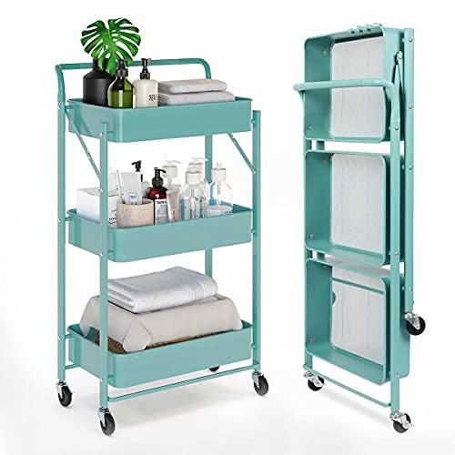 Xinwanhong küchenwagen-Rollwagen mit 3 Ebenen, Aufbewahrungswagen, Werkzeugwagen mit Rollen, Mobile Utility Service Cart for Kitchen Bathroom Office Laundry, Blue