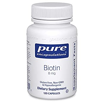 Pure Encapsulations Biotin 8 mg   B Vitamin Supplement for Stress Relief Hair Skin and Nail Strengthening Metabolism Glucose Support and Nervous System*   120 Capsules