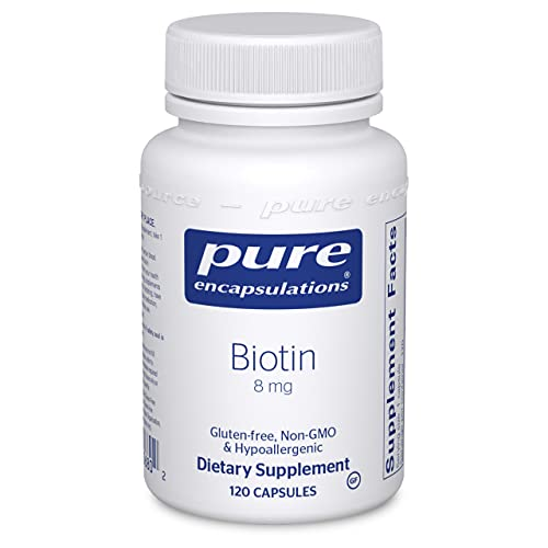 Pure Encapsulations Biotin 8 mg | B Vitamin Supplement for Stress Relief, Hair, Skin, and Nail Strengthening, Metabolism, Glucose Support, and Nervous System* | 120 Capsules
