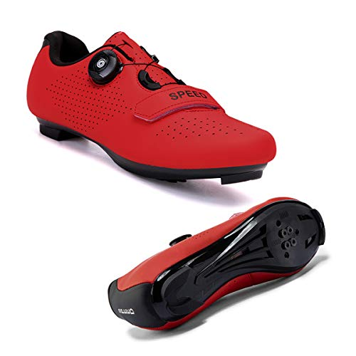 Joseph Haywood 2021 Women Cycling Shoes Road Bike Shoes Compatible Lock SPD/SPD-SL Indoor/Outdoor Riding Shoes Red