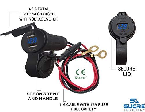 USB 12 V/24 V, Zigarettenanzünderbuchse mit 2 USB-Steckplätzen 4.2A + 1 m Kabelanschluss + Motorradgriff mit Zelt