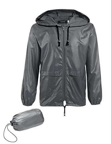 COOFANDY Men's Packable Rain Jacket Outdoor Waterproof Hooded Lightweight Classic Cycling Raincoat Poncho (Gray, XX-Large)
