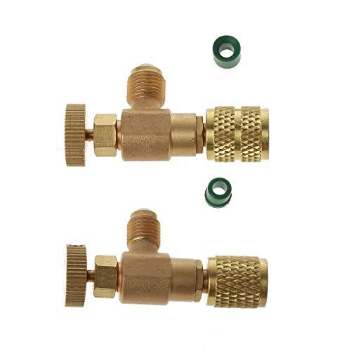 HOTPINK1 Lot de 2 adaptateurs de sécurité 6,35 mm, valve de sécurité liquide fluorine, pour réfrigérant R410 R22