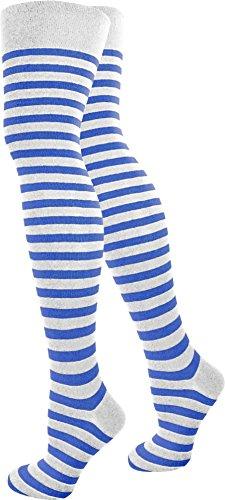 normani 1-10 Paar Damen Karneval Kostüm Fasching Baumwoll-Overknees Blickdicht Halterlose Strümpfe mit Streifen Farbe Weiß/Blau Größe 1 Paar