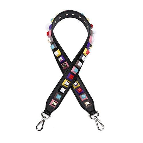 Umily kvinnor flickor bred handväska rem ersättning gitarr stil flerfärgad kanvas crossbody rem för handväskor