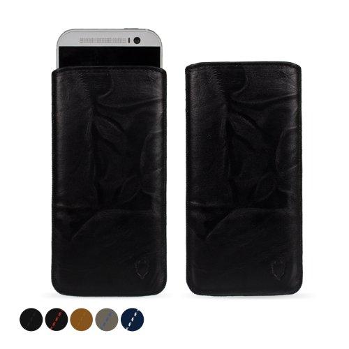 MediaDevil HTC One M8 (2014) Lederhülle (Schwarz mit schwarzen Nähten) - Artisanpouch Hülle aus echtem europäischen Leder mit Ausziehlasche