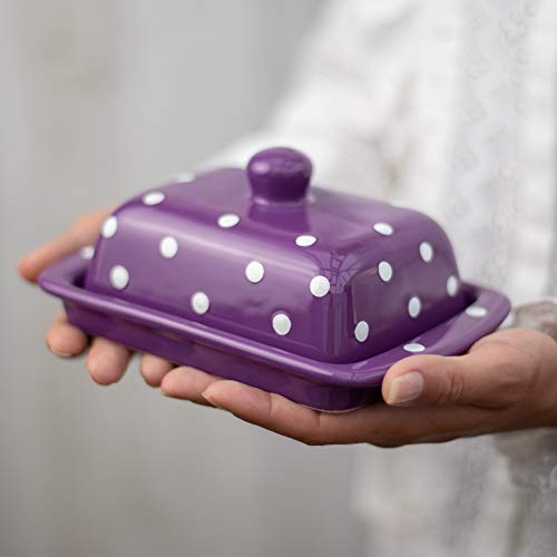 City to Cottage Beurrier violet à pois blancs en céramique fait et peint à la main