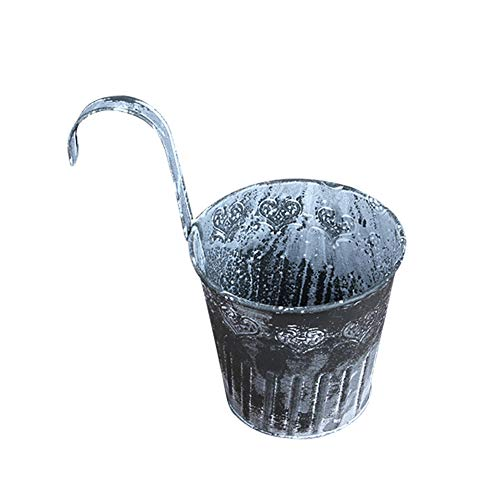 Warooma Eisen-Hänge-Übertopf, 4 Stück, Vintage-Metall-Eisen-Eimer, zum Aufhängen, Blumentöpfe, Metall, Handarbeit, dekorativer Hängetopf für Fenster, Wand, Zaun, Balkon, Garten, Terrasse
