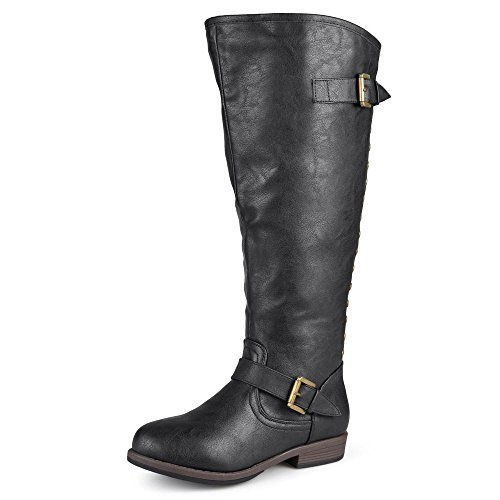 Journee Collection Womens Regular Sized, Wide-Calf and Extra Wide-Calf Studded Knee-High Riding Boots Black, 9.5 Extra Wide Calf US