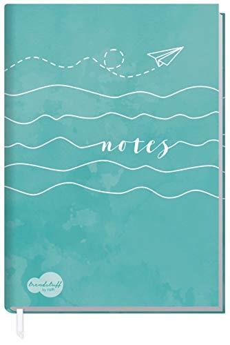 Notizbuch A5 kariert [Wellenlänge] von Trendstuff by Häfft   124 Seiten, 62 Blatt   Ideal als Tagebuch, Bullet Journal, Ideenbuch, Schreibheft   klimaneutral & nachhaltig