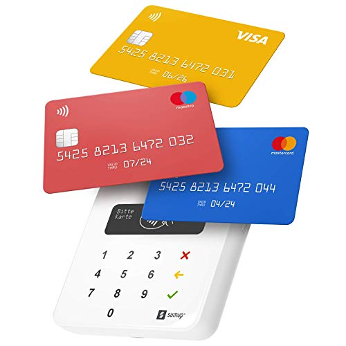 Lettore di carte Sumup Air per pagamenti con carta di debito, credito, Apple Pay, Google Pay. Dispositivo portatile contactless - avvicina soltanto la carta, il telefono o in modalità Chip & Pin