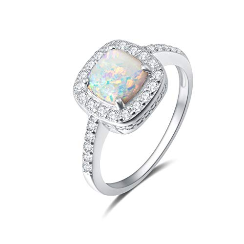 Fancime 925 Sterling Silver White Created Opal Halo Rings 14K Gold Plated Cubic Zirconia CZ Engagement Jewelry For Women Girls Size 6