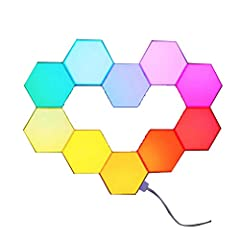 DIY smart LED Light Kit:including 10 light blocks; can display 16 million colors, 3 color selection modes; creates fashion and romantic atmosphere in dining, living and so many other scenes Enjoys fun of DIY: Up to 11 blocks can be spliced together t...