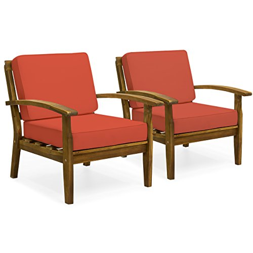 Best Choice Products Set of 2 Outdoor Acacia Wood Club Chairs for Patio, Porch, Poolside w/Cushions - Red