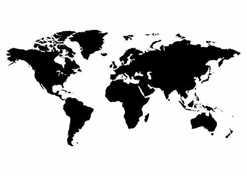 Wandtattooladen Wandtattoo - Weltkarte Größe:180x90cm Farbe: Schablone