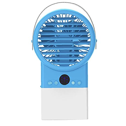 Desk Air Conditioner Fan Personal Air Cooler Humidifier Misting Evaporative Quiet Mini Portable with Led Light 3 Speeds for Home Office Blue Heat Removal