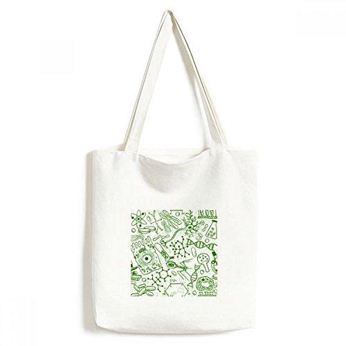 DIYthinker Grüne Mikroskop Zellen Struktur Biological Illustration Umwelt Waschbar Einkaufs-Tasche Fertigkeit-Geschenk 33 * 40cm Mehrfarbig