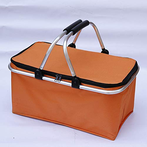 MiduoHu Cesta térmica para Picnic Aluminio para Camping Playa Compra - Nevera portátil para Transporte de Comida y Bebida (Color : Orange)