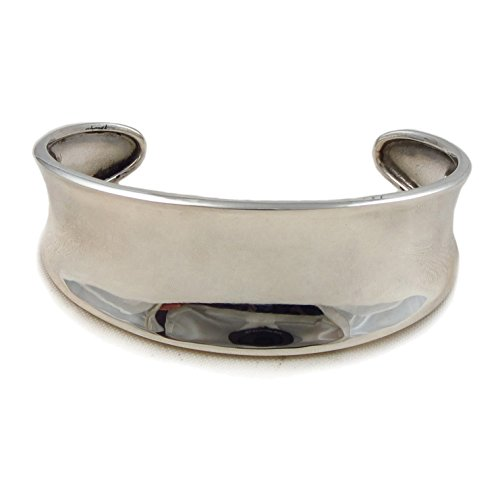 Wide 925 Sterling Silver Cuff Polished Curved Bracelet
