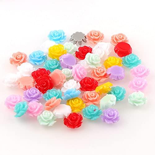 MURUI QA 100 cabujones de flores de resina 3D con parte trasera plana para collar o pulsera para encontrar YC823 (color: 2)