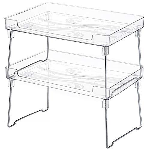 SONGMICS Cabinet Shelf Organizers, Spice Racks, Stackable, Expandable, Set of 4 Metal Kitchen Counter Shelves, White UKCS006W01