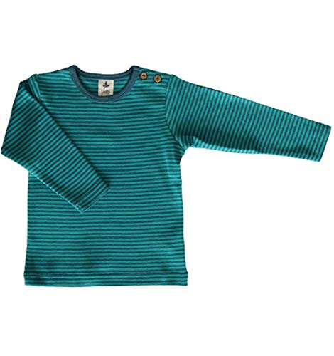 Leela Cotton Baby Kinder Langarmshirt Ringelshirt Bio-Baumwolle GOTS T-Shirt Shirt Jungen Mädchen Gr. 50/56 bis 128 (86/92, blau-Donau)