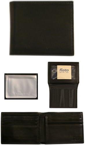 Floto Black Leather Passcase Wallet