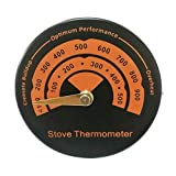 HermosaUKnight Termómetro magnético de Chimenea de Horno de Tubo de Estufa de leña con sonda de sensibilidad (Negro)