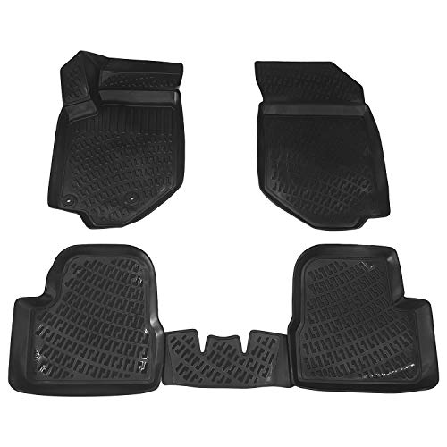RE&AR Tuning Alfombrillas de coche para Opel Corsa F 2020, alfombrillas de goma inodoras, color negro, protección contra la suciedad y el barro, impermeables, específicas para vehículos