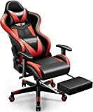 Gaming Chair,PatioMage Office Chair Racing Office Chair Desk Chair Headrest Lumbar Support Comfortable Computer Game Chair PU Leather Ergonomic Reclining PC Gaming Chairs (Black Red)