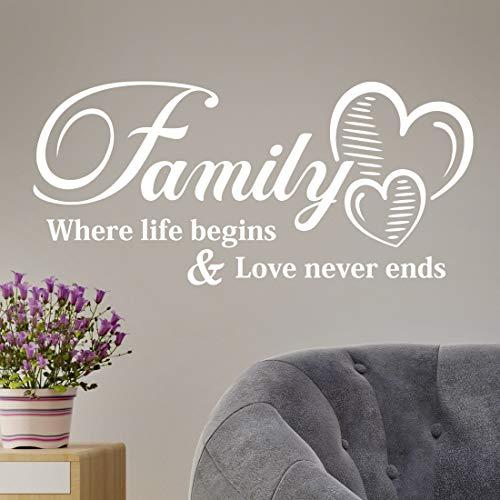 """Pegatina de pared con cita \""""Family Where Life Begins Love Never Ends\"""" para sala de estar, decoración de dormitorio, decoración de árboles, fotos, oficina, vinilo"""