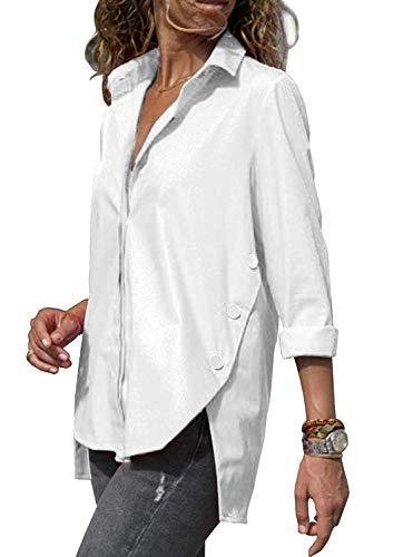ORANDESIGNE Chemisier Femme Blouse Col V Casual Mode Tunique Haut Top Shirt Manche Longue Casual Loose Chemisier Blanc FR 40