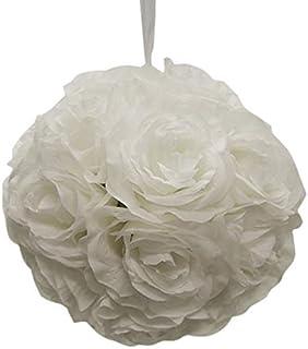 "Ben Collection 7"" Pomander Flower Kissing Ball Multi Color Home Wedding Decoration (1, White)"
