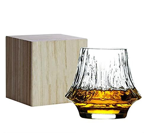 Copa De Vino Obra De Arte Cristalería De Cóctel Cristal Transparente Vasos De Whisky Caja De Regalo De Madera para El Regalo del Día del Padre Amantes del Whisky Winebowl