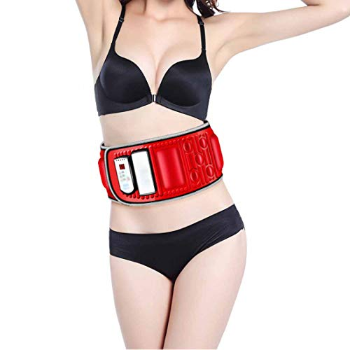 LLYY® Massage-Gürtel, Bauchmuskelgürtel Gürtel Abnehmen mit Infrarot Wärmefunktion Massage Nacken/Schulter/Rücken Elektrischer zum Tragbar für Auto Zuhause Büro(Rot)