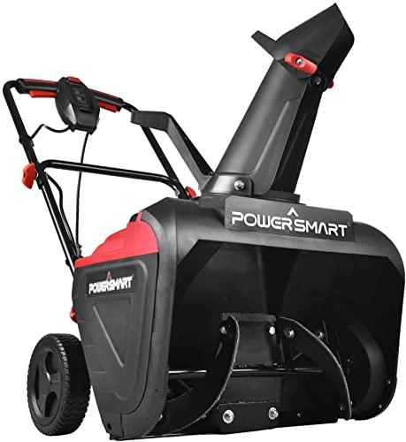 PowerSmart Snow Blower, 21-INCH Single Stage Electric Snow Blower Thrower, 120V 15 AMP Corded Electric Start Snowblower for Yard