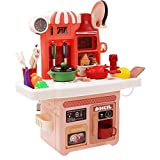 Ruby569y Juguetes de juego de pretender, 23 piezas niños juego de vajilla con música ligera juego de juguete de cocina regalo para niños - naranja