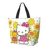 Hello Kitty - Bolsa de hombro plegable con asa de anime, reutilizable, gran capacidad con cremallera, para gimnasio, playa, viajes, diario, unisex