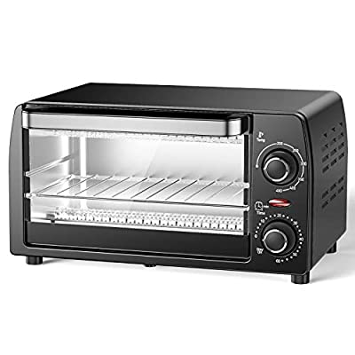 Hosome Toaster Oven, 4 Slice Toaster Oven with Wire Rack and Tray, Stainless Steel Compact Size Toaster Oven, Convection Oven with Timer-Toast Setting,1015W, Black