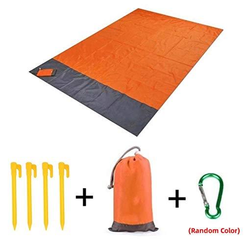 Moin 210 * 200cm zusammenklappbarer Camping-Teppich Taschendecke wasserdichte Strandmatte Tragbare Picknickmatte im Freien Campingbett Isomatte, orange Sandgrau, 100 x 140 cm