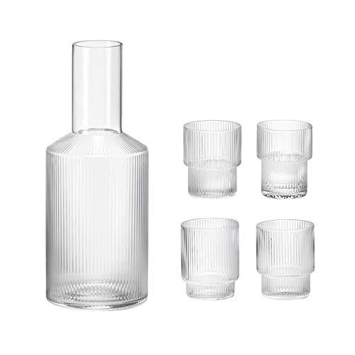 Ripple Wasser-Glas 4er Set mit Karaffe, transparent mundgeblasenes Glas H 8.8cm Ø...