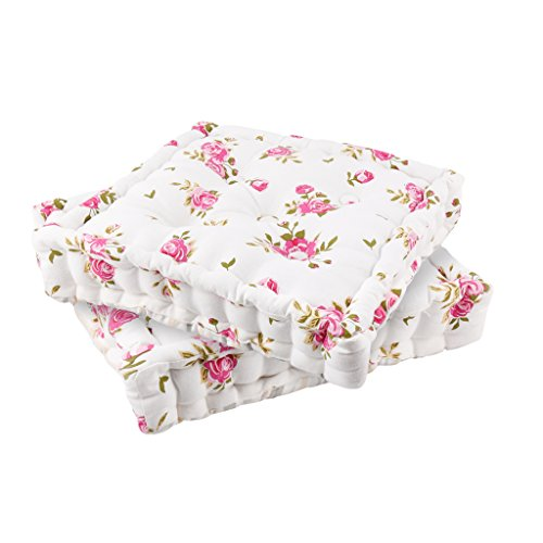 Set of 2 Floral Print Seat Pads - Dining Chair Mattress Cushions