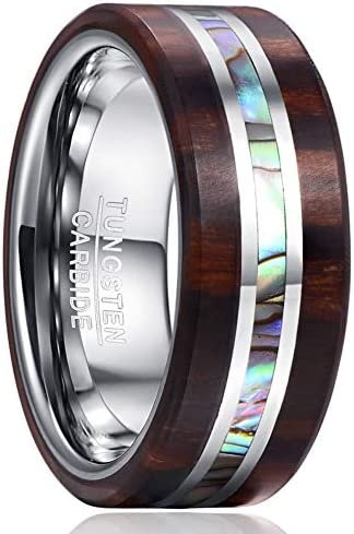 VAKKI 8mm Mens Womens Wood Wedding Bands Abalone Shell Tungsten Carbide Rings Size 11 product image