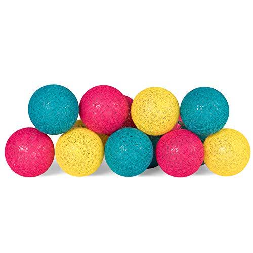 Plaights LED Lichterkette mit 15 Kugeln aus Baumwolle | die Lichterkette mit Textilkugeln ist batteriebetrieben | Textillichterkette mit Timer | Farbe petrol, magenta und gelb