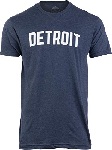 Detroit | Classic Retro City Navy Detroiter 313 Cool Michigan Men Women T-Shirt-(Navy Men,M)
