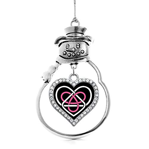 Inspired Silver - Celtic Sisters Knot Charm Ornament - Silver Open Heart Charm Snowman Ornament with Cubic Zirconia Jewelry